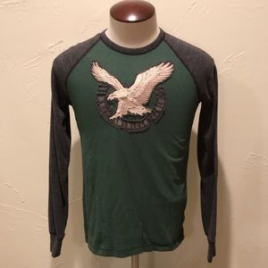American Eagle Green & Gray Mens XS Graphic Shirt